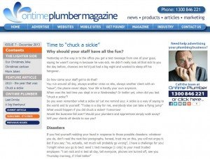 chuck a sickie plumbers mag